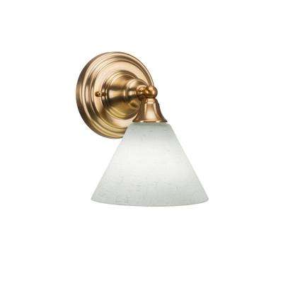 7.75 in. Aged Silver Sconce with 7 in. White Muslin Glass