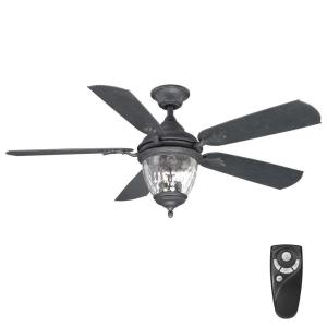 Abercorn 52 in. Indoor/Outdoor Iron Ceiling Fan with Light Kit and Remote Control