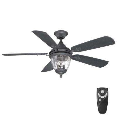Black Outdoor Ceiling Fan With Light Black outdoor ceiling fans lighting the home depot indooroutdoor iron ceiling fan with light kit and remote control workwithnaturefo