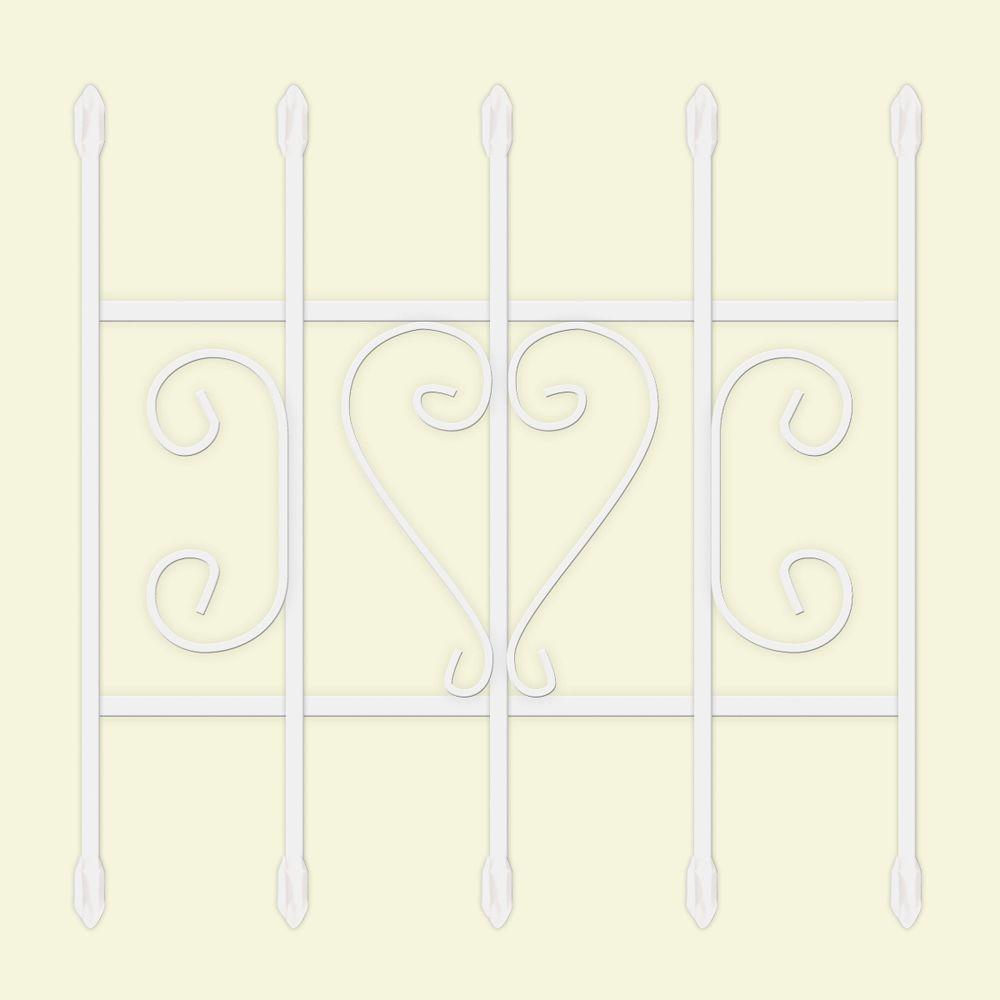24 in. x 24 in. Su Casa White 5-Bar Window Guard