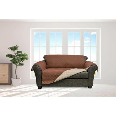 Jameson Chocolate-Natural Reversible Waterproof Microfiber Loveseat Cover with Elastic Buckle