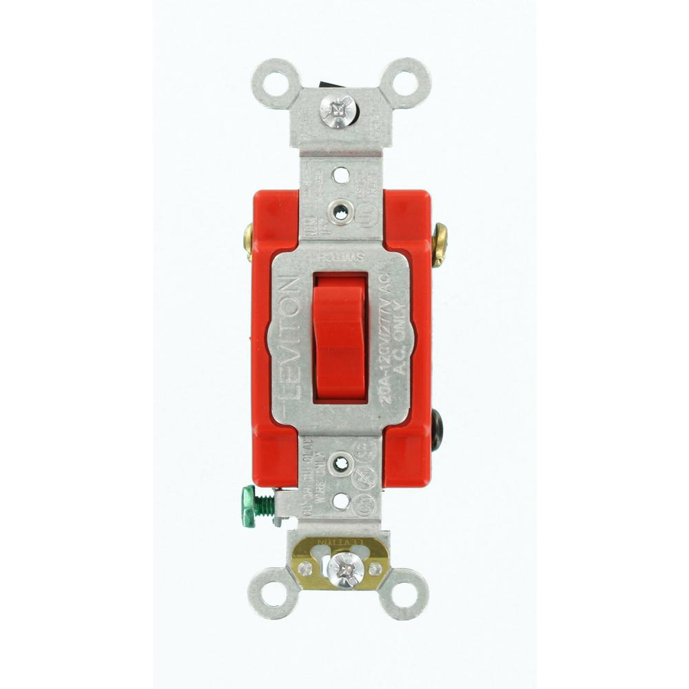 Leviton 20 Amp Industrial Grade Heavy Duty 4Way Toggle Switch Red