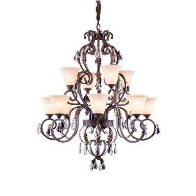 Troy 12-Light Gilded Umber Chandelier with Clear Crystal