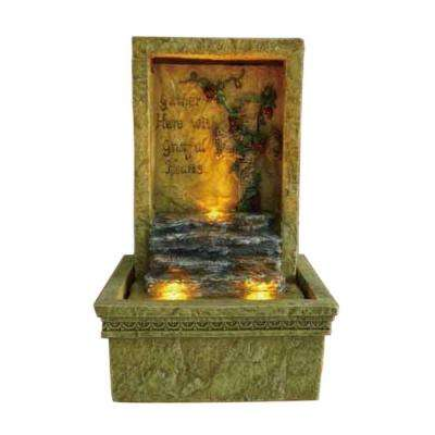9 in. Antique Brass Tabletop Graceful LED Fountain