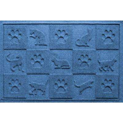 Medium Blue 24 in. x 36 in. Cat in the Mat Pet Mat
