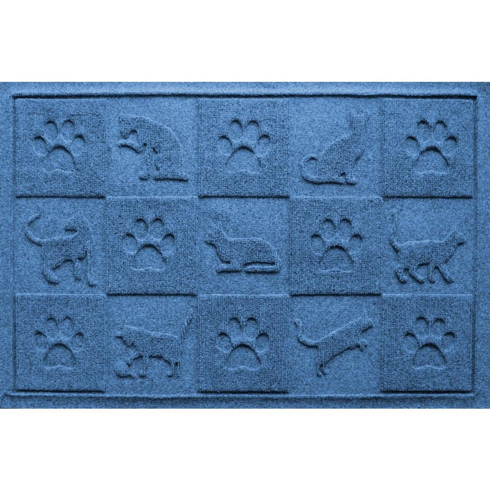 Medium Blue 24 in. x 36 in. Cat in the Mat