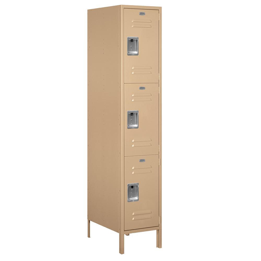 18-53000 Series 3 Compartments Triple Tier 18 In. W x 78 In. H x 21 In. D Metal Locker Unassembled in Tan