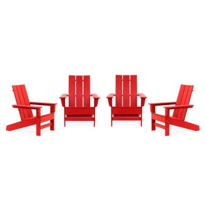 Aria Bright Red Recycled Plastic Modern Adirondack Chair (4-Pack)