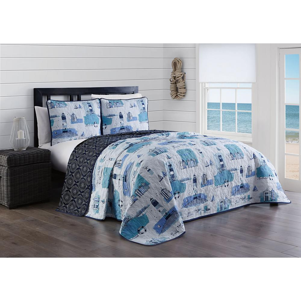 Stone Harbor 3 Piece Blue King Quilt Set