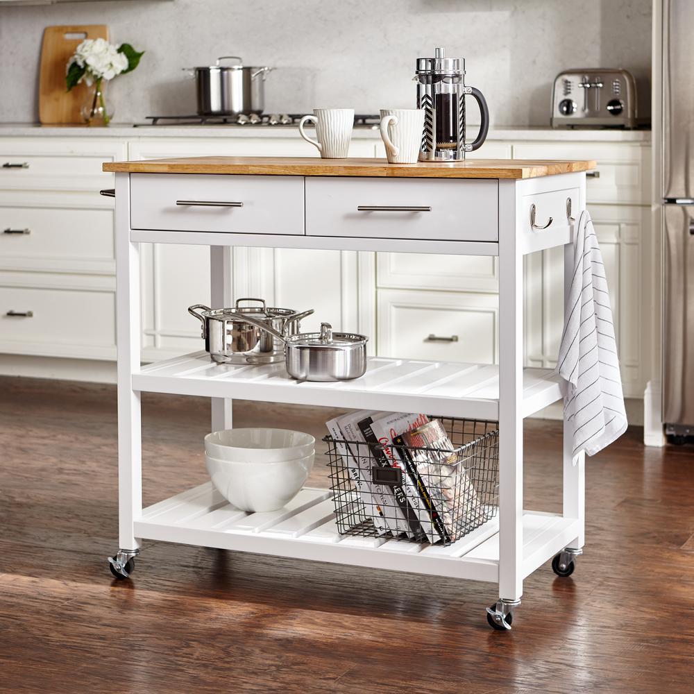 Glenville White Kitchen Cart with 2 Shelves