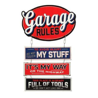 Garage Rules Linked Embossed Tin Decorative Sign