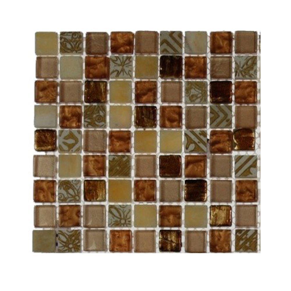 Splashback Tile Metallic Carved Egyptian's Gold Blend Marble and Glass Tiles - 6 in. x 6 in. x 8 mm Tile Sample