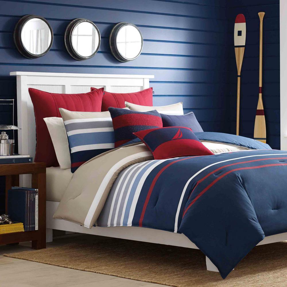 Bradford 3-Piece Navy Multicolored Striped Cotton King Comforter Set