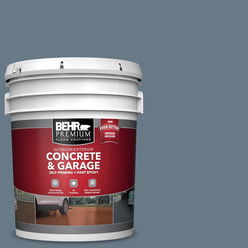BEHR PREMIUM 5 gal. #N490-5 Charcoal Blue Self-Priming 1-Part Epoxy Satin Interior/Exterior Concrete and Garage Floor Paint