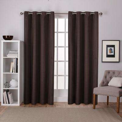 Raw Silk 54 in. W x 84 in. L Woven Blackout Grommet Top Curtain Panel in Chocolate (2 Panels)