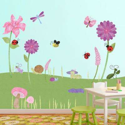 Flowers and Bugs Peel and Stick Removable Wall Decals Flower Garden Theme (41-Piece Set)