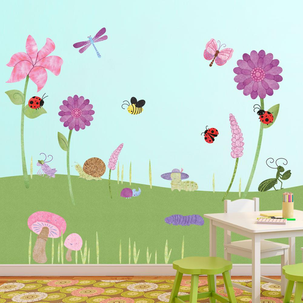 Flowers And Bugs Peel And Stick Removable Wall Decals Flower Garden Theme  (41 Piece