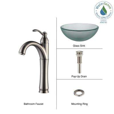 Frosted Glass Vessel Sink in Clear with Single Hole Single-Handle High-Arc Riviera Faucet in Satin Nickel