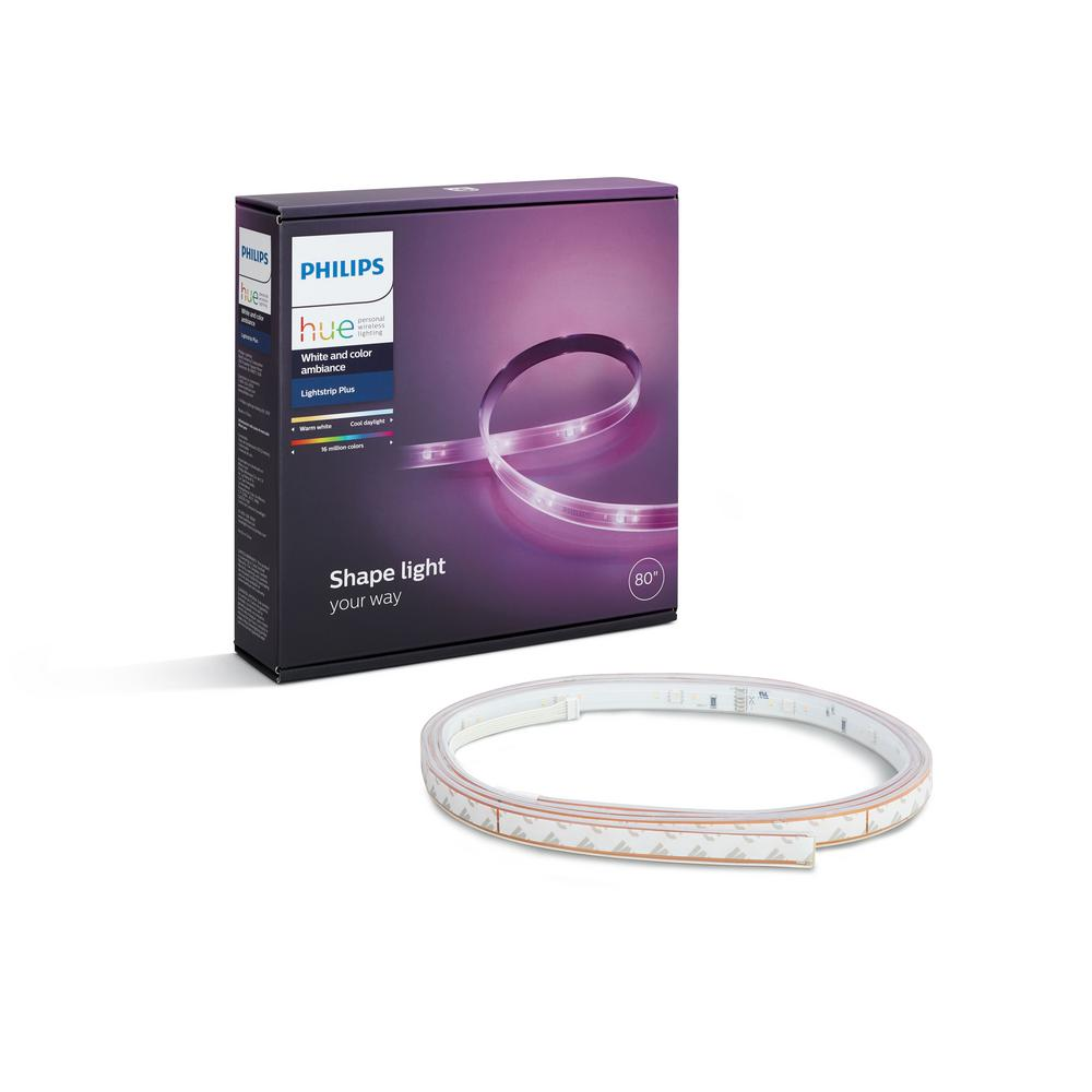 philips hue lightstrip plus dimmable led smart light 800276 the home depot. Black Bedroom Furniture Sets. Home Design Ideas