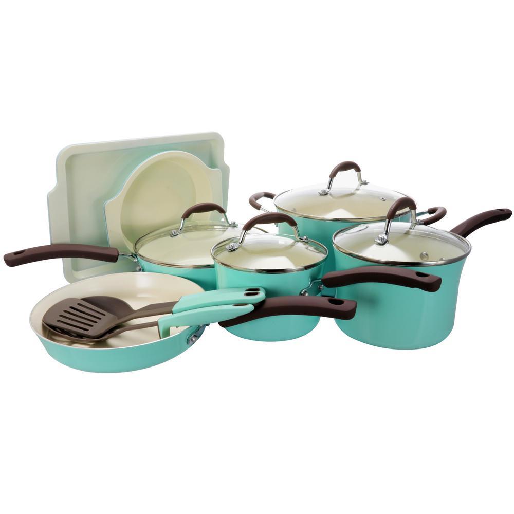 Oster Carrick 15-Piece Mint Cookware Set with Lids 985105785M