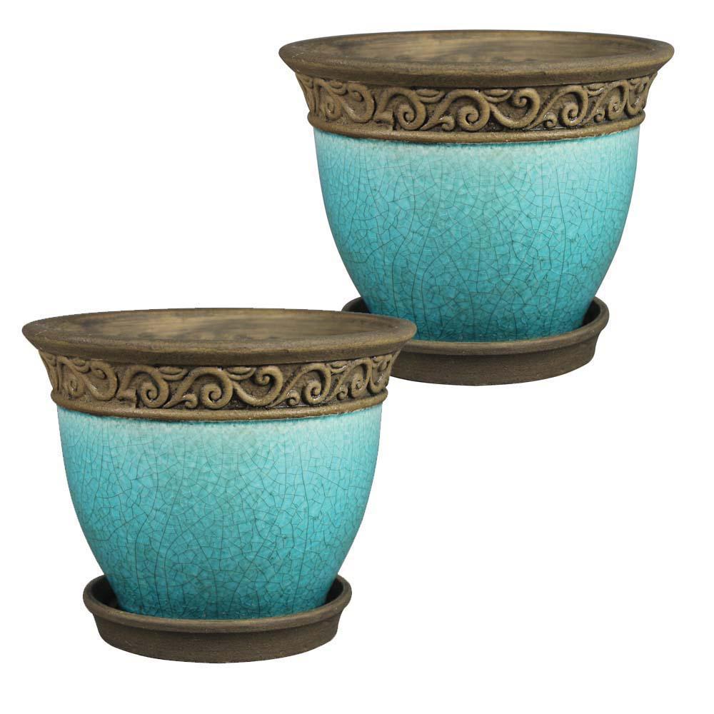 Cadiz 8 in. Dia  Teal Ceramic Planter (2-Pack)