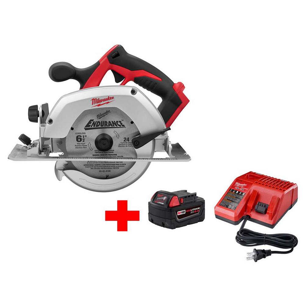 Milwaukee M18 18-Volt Lithium-Ion Cordless 6-1/2 in. Circular Saw W/ M18 Starter Kit (1) 5.0Ah Battery & Charger