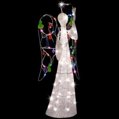 4 ft. Sparkle Multi Color Jeweled Crystal Angel