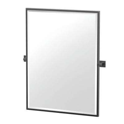 Elevate 32.5 in. x 27.63 in. Framed Rectangle Mirror in Matte Black