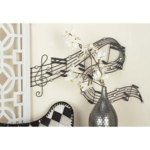 34 inch x 20 inch Traditional Musical Notes Wall Decor in Matte Black Iron by