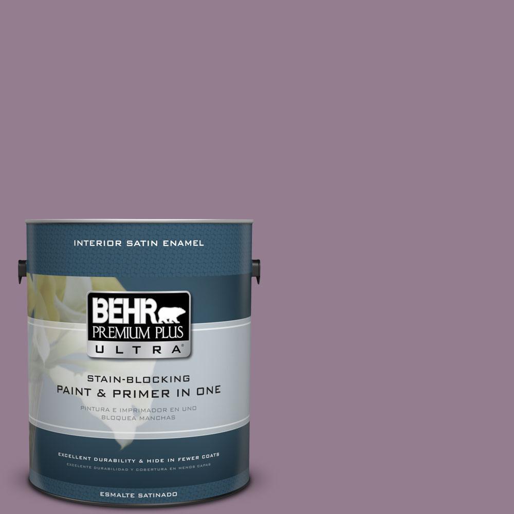 BEHR Premium Plus Ultra 1 gal. #680F-5 Plum Swirl Satin Enamel Interior Paint and Primer in One