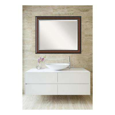 Cyprus Walnut Wood 33 in. W x 27 in. H Single Traditional Bathroom Vanity Mirror