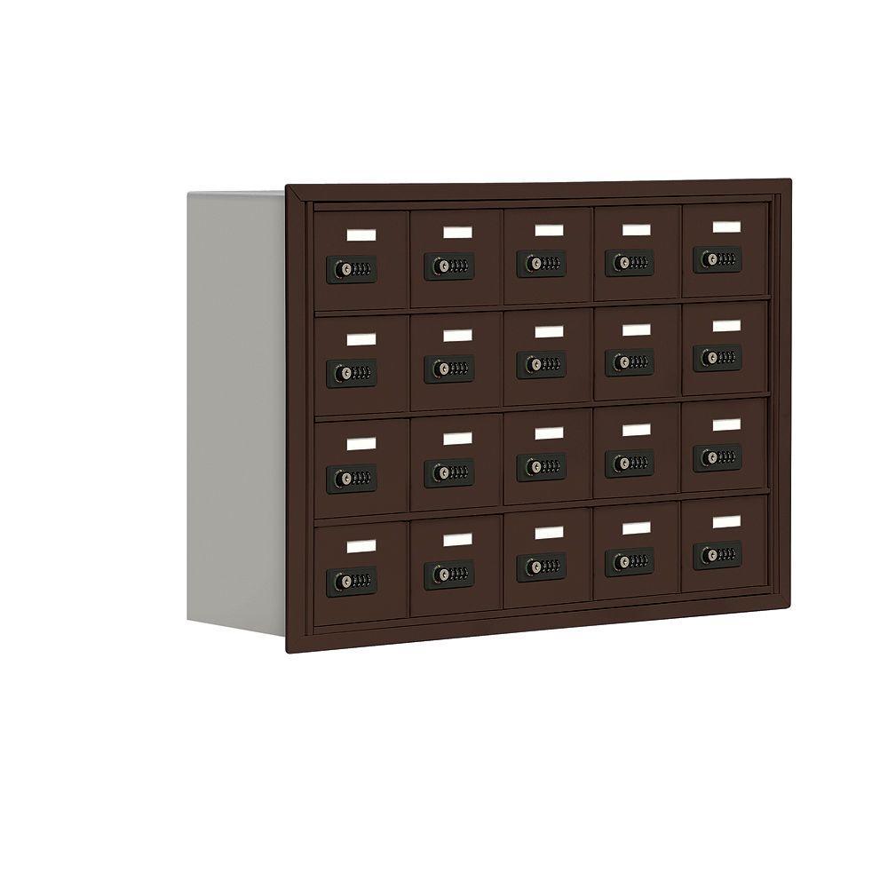 Salsbury Industries 19000 Series 37 in. W x 25.5 in. H x 8.75 in. D 20 A Doors R-Mount Resettable Locks Cell Phone Locker in Bronze