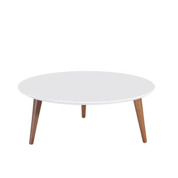 Manhattan Comfort Moore 32 In White Gloss Medium Round Wood Coffee Table 252351 The Home Depot