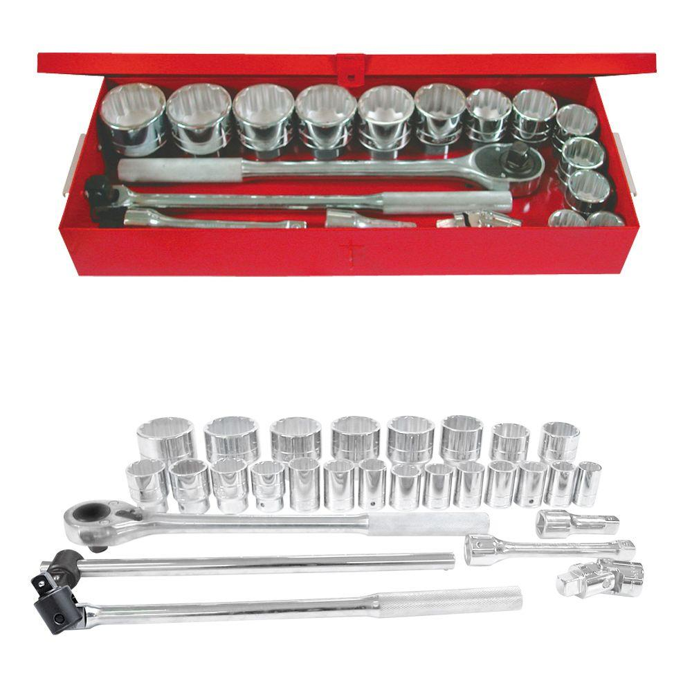 3/4 In. Drive 12-Point Metric Hand Socket & Accessories Set (28-Piece)