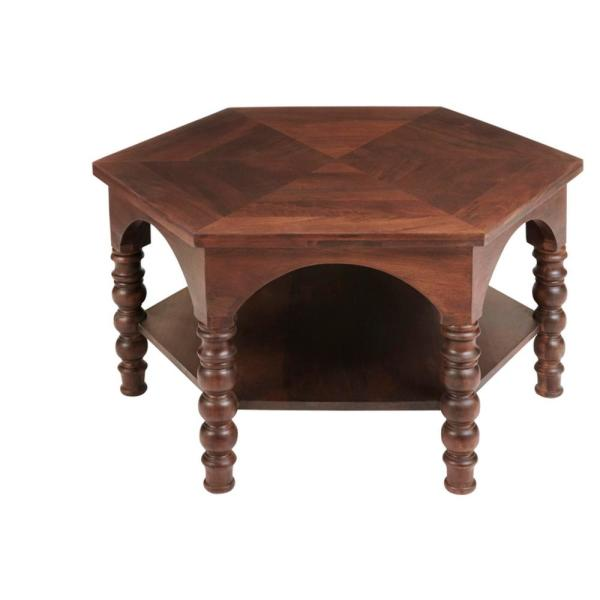 Home Decorators Collection Castine Hexagonal Walnut Finish Wood