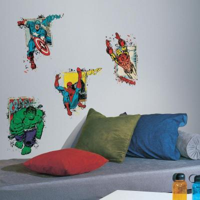 2.5 in. x 21 in. Marvel Superhero Burst Peel and Stick Giant Wall Decal (4-Piece)