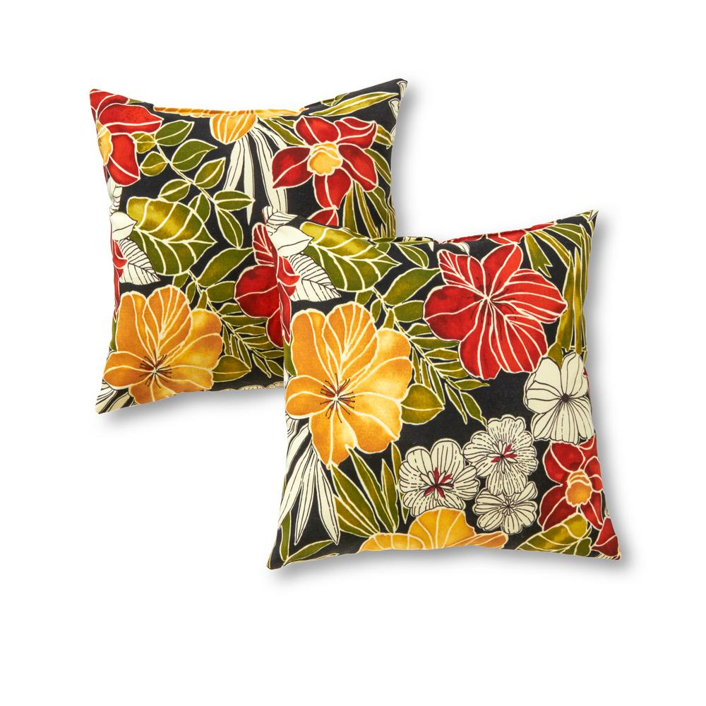 Greendale Home Fashions Aloha Black Square Outdoor Throw Pillow (2-Pack)