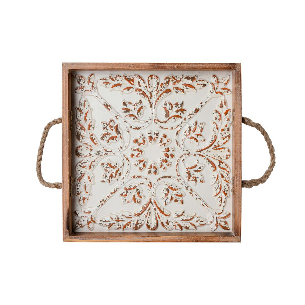 14 in. Embossed Wood Tray