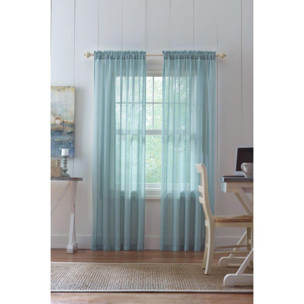 Sheer Aqua Highline Textured Sheer Rod Pocket Curtain - 52 in. W x 84 in. L