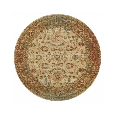 HomeRoots Bernadette Sand/Coral 3 ft. Round Abstract Polypropylene Area Rug