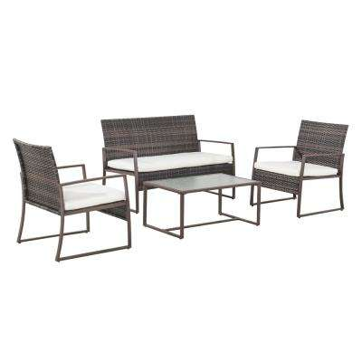 Liam 4-Piece Wicker Patio Seating Set with Cream Cushions