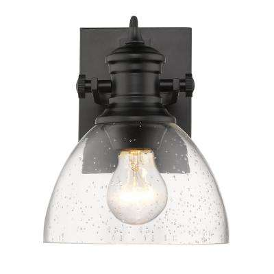Hines 1-Light Black and Seeded Glass Bath Light