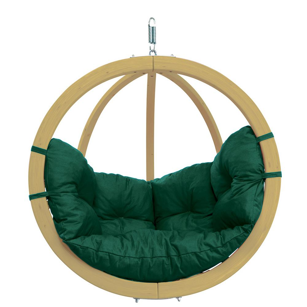 Globo Chair Single Person Laminated Spruce Patio Swing with Agora Green