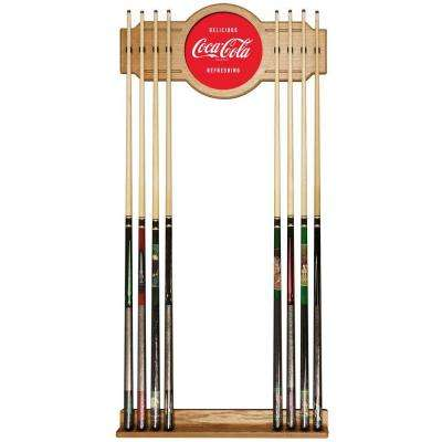 Coke Delicious Refreshing 30 in. Wooden Billiard Cue Rack with Mirror