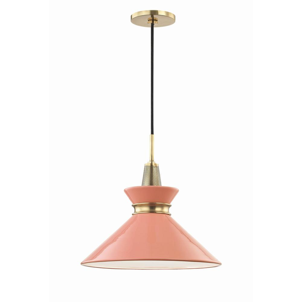 Kiki 1-Light 14 in. W Aged Brass Pendant with Pink Shade