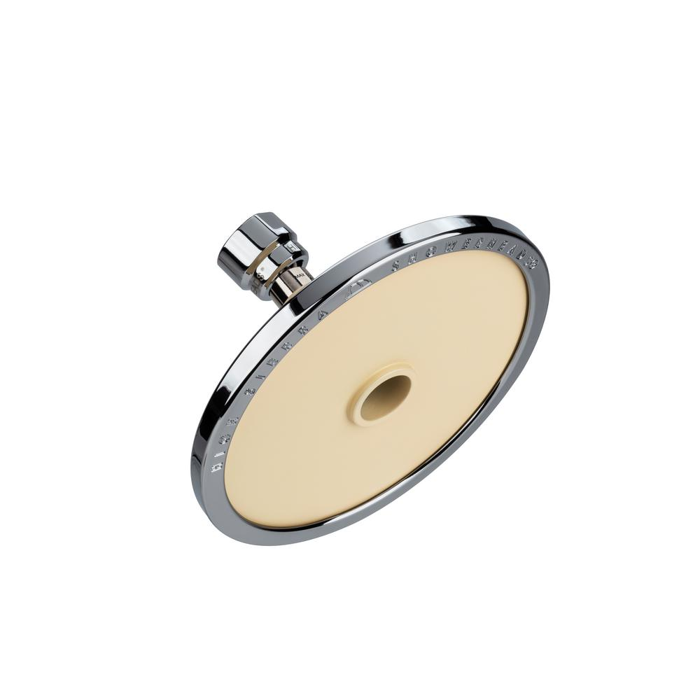 High Sierra Showerheads Tenaya PLUS 1-Spray 5 in. Round Fixed Shower Head with All Metal Construction in Powder Coated Biscuit and Chrome