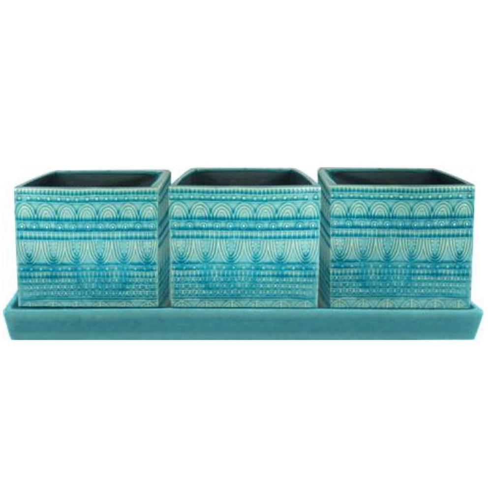 12 in. Dia Blue Seven Seas Ceramic Trio