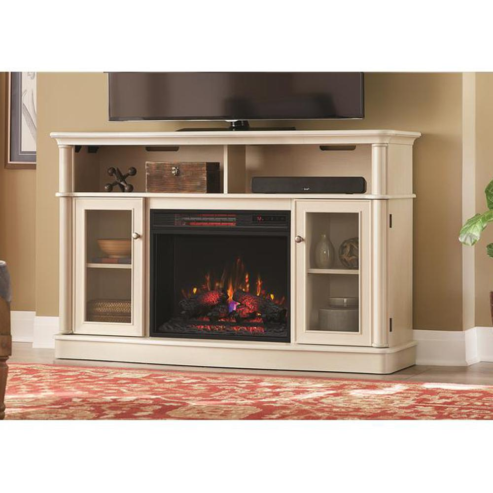 The Tolleson TV stand for TVs up to 60 in. with a 23 in. infrared quartz electric fireplace creates an attractive focal point for your living space. Simple and transitional
