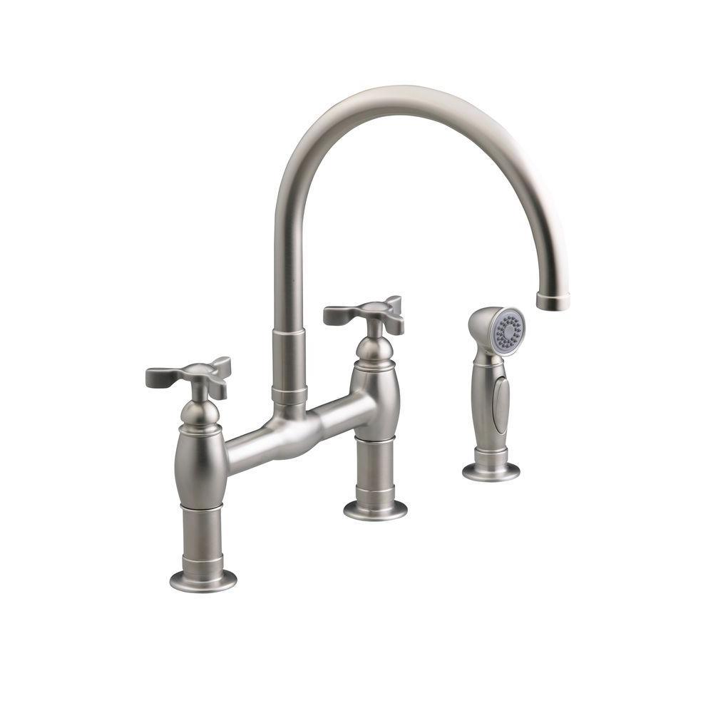 KOHLER Parq 2-Handle Bridge Kitchen Faucet with Side Sprayer in ...