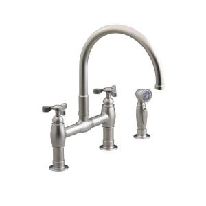 Parq 2-Handle Bridge Kitchen Faucet with Side Sprayer in Vibrant Stainless